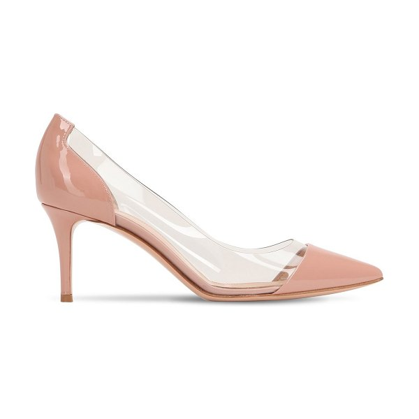 Gianvito Rossi 70mm plexi & patent leather pumps in blush - 70mm Heel. Pointed toe. Patent leather heel and toe....