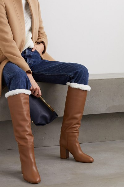 Gianvito Rossi 85 faux shearling-lined leather knee boots in tan