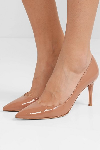 Gianvito Rossi 85 patent-leather pumps in beige