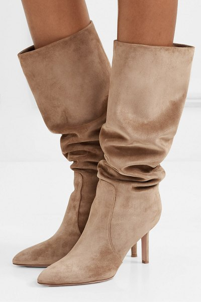 Gianvito Rossi 85 suede knee boots in camel