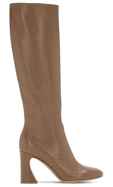 Gianvito Rossi 85mm leather tall boots in taupe