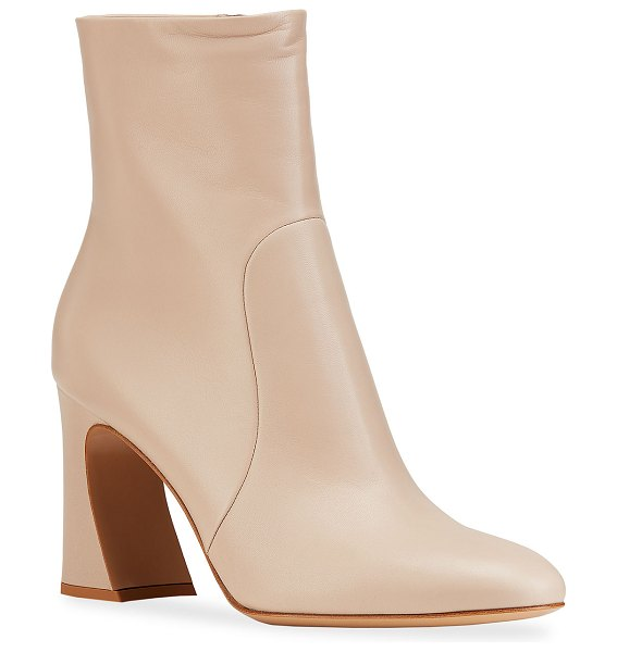 Gianvito Rossi 85mm Napa Glove Ankle Booties in light beige