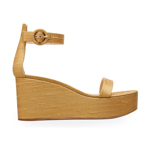 Gianvito Rossi Ankle-Strap Shatung Platform Wedge Sandals in gold