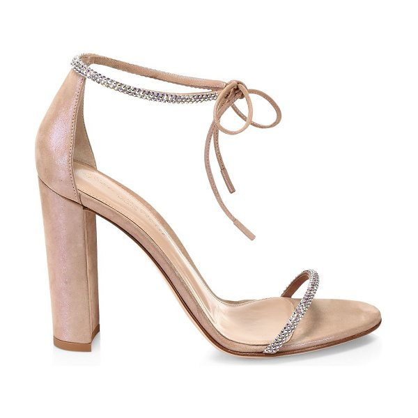 Gianvito Rossi ankle-tie crystal-embellished iridescent suede sandals in rosa