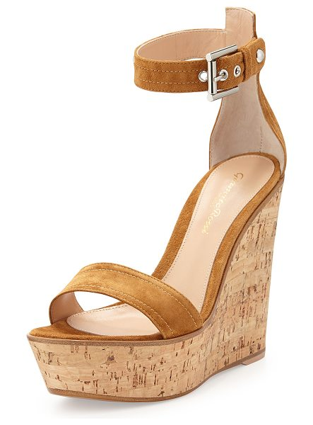 "Gianvito Rossi Ankle-wrap platform wedge in brown - Gianvito Rossi suede wedge sandal. 5"" cork heel, 1. 5""..."