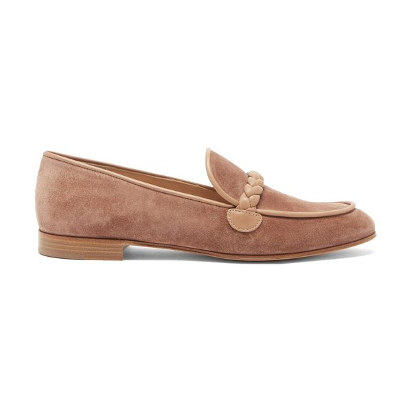 Gianvito Rossi benny leather-trimmed suede loafers in beige
