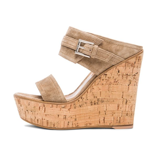 Gianvito Rossi Buckled wedges in neutrals - Suede upper with leather sole.  Made in Italy.  Approx...
