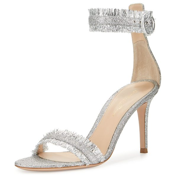 Gianvito Rossi Caribe Fringe Ankle-Wrap 85mm Sandal in silver - Gianvito Rossi Lurex fabric sandal with fringe trim....