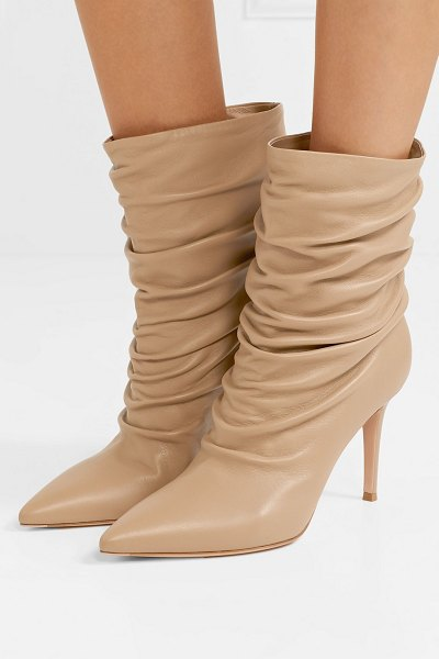 Gianvito Rossi cecile 85 ruched leather ankle boots in sand