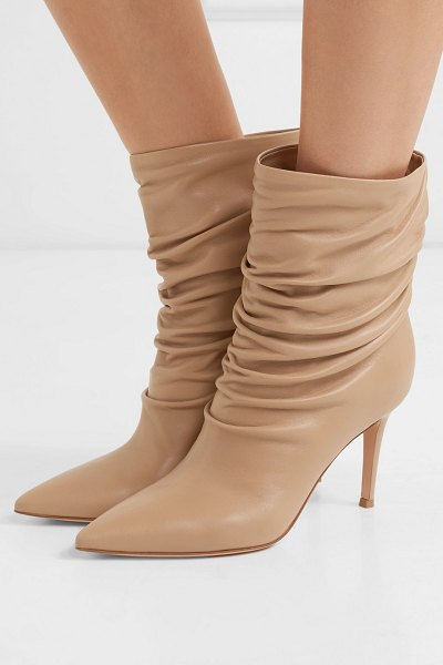 Gianvito Rossi cecile 85 leather ankle boots in beige - We've seen plenty of '80s references this season, and...