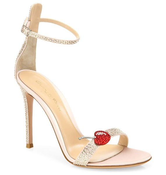 Gianvito Rossi cherry portofino crystal ankle-strap sandals in rosa - Glam crystal ankle-strap sandal with cherry applique....