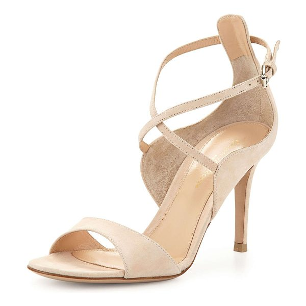 "GIANVITO ROSSI Crisscross open-toe suede sandal - Gianvito Rossi sandal in suede. 3. 5"" covered heel...."