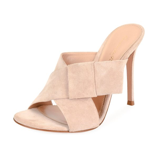 "Gianvito Rossi Crisscross Suede 105mm Mule in rosa - Gianvito Rossi suede mule with bow at side. 4.3"" covered..."