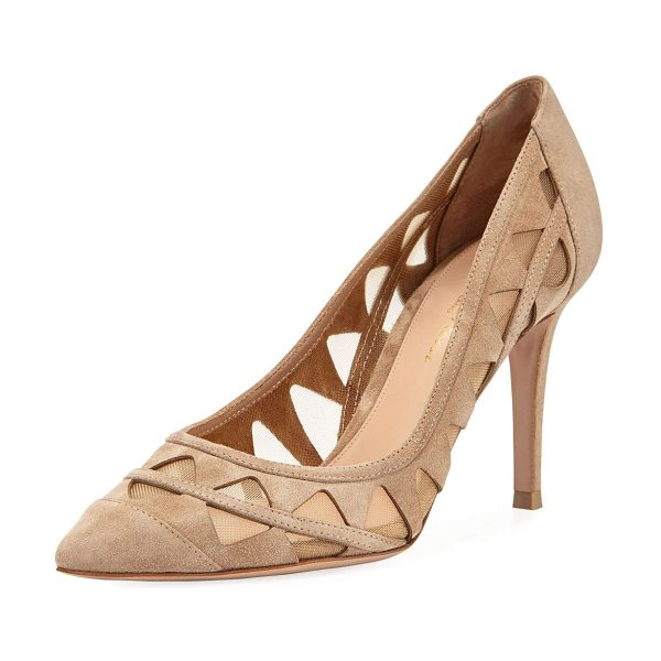 "Gianvito Rossi Cutout Suede Pump in taupe - Gianvito Rossi suede pump with triangular cutouts. 3.5""..."