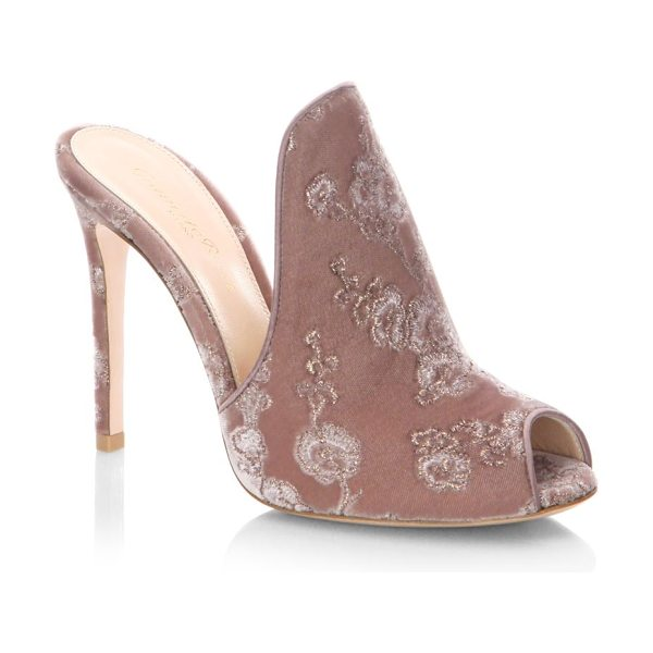 Gianvito Rossi embroidered velvet peep toe mules in rosie - Floral-embroidered velvet mule with fliry peep toe....