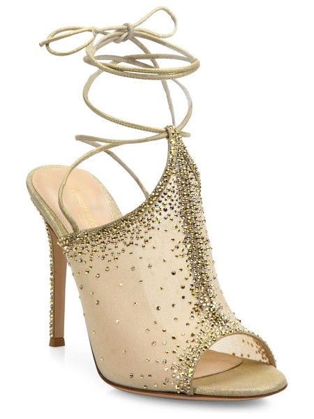 Gianvito Rossi etoile crystal emellished ankle-wrap mules in gold - Crystal-embellished mesh mules with suede ankle ties....