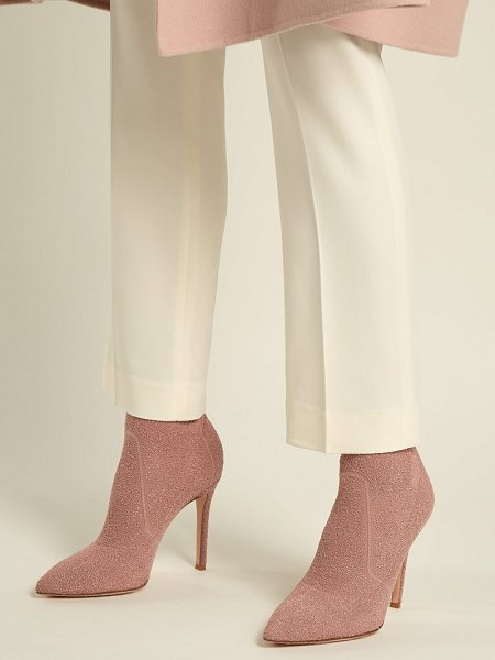 Gianvito Rossi Fiona 100 Bouclé Knit Sock Boots in nude - Gianvito Rossi - Gianvito Rossi's Fiona boots are a...