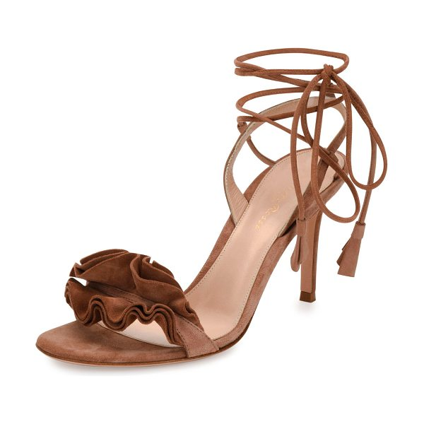 Gianvito Rossi Flora Ruffled Suede Lace-Up 85mm Sandal in light brown - Gianvito Rossi suede sandal. Available in multiple...