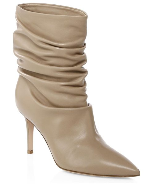 Gianvito Rossi gathered leather booties in bisque - On-trend leather booties enhanced with gathered design....