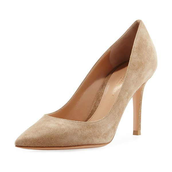 Gianvito Rossi Gianvito 85 Suede Point-Toe 85mm Pump in neutral