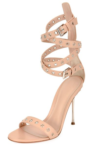 "Gianvito Rossi Grommet Ankle-Wrap 105mm Sandal in powder - Gianvito Rossi leather sandal with grommet trim. 4.3""..."