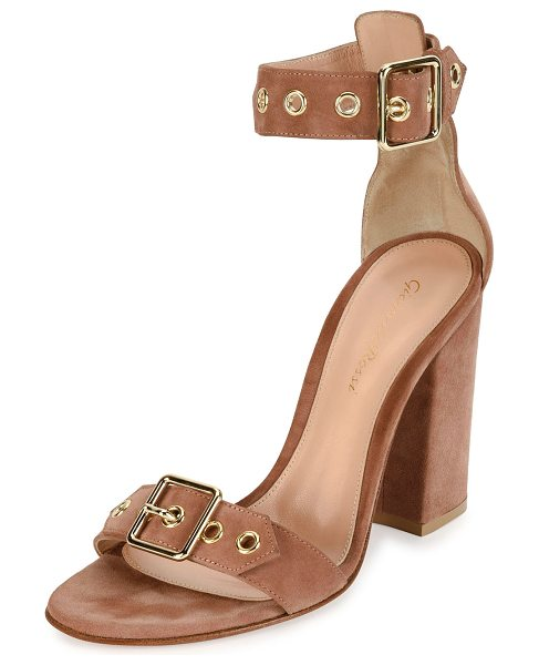 "GIANVITO ROSSI Hayes Suede Buckle 100mm Sandal - Gianvito Rossi suede sandal. 4"" covered block heel...."