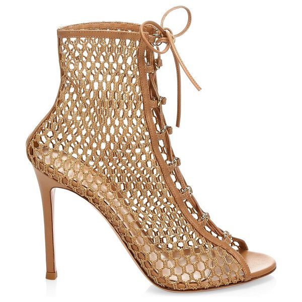 Gianvito Rossi heeled lace-up leather booties in tan - Eye-catching leather heeled booties flaunt open mesh...