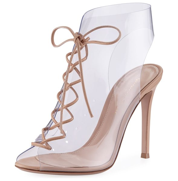 Gianvito Rossi Plexi Lace-Up 105mm Booties in nude - Gianvito Rossi transparent PVC bootie with napa leather...