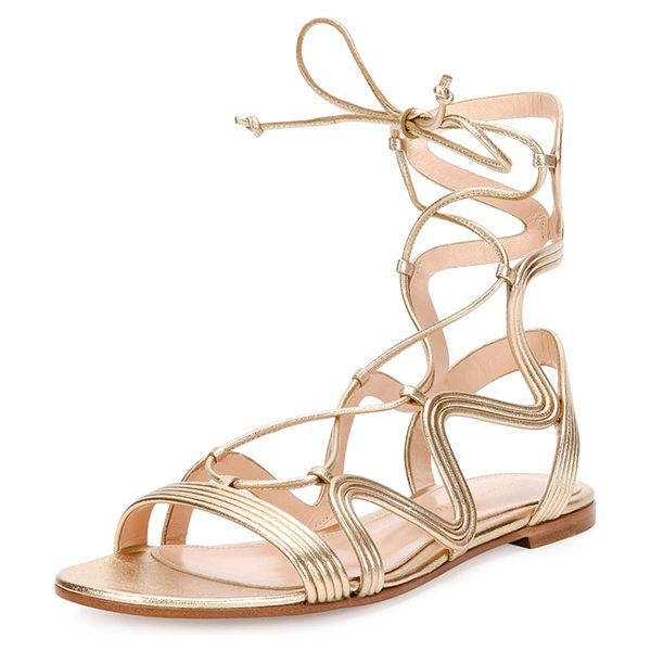 "Gianvito Rossi Hydra Wavy Leather Flat Lace-Up Sandal in metallic - Gianvito Rossi metallic napa leather sandal. 0.3""..."