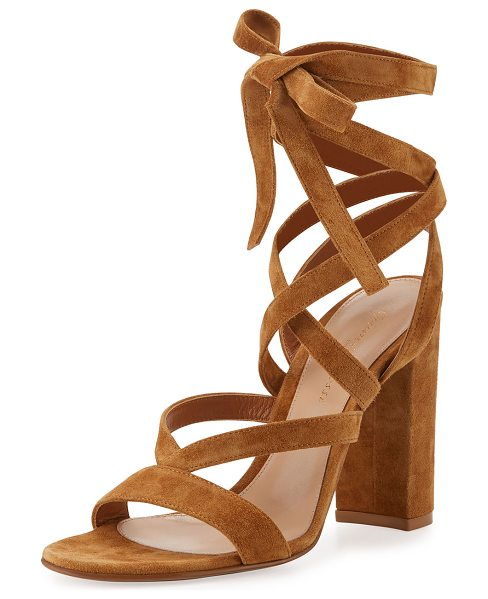 "Gianvito Rossi Janis High Suede Lace-Up 105mm Sandal in almond - Gianvito Rossi suede sandal. 4.1"" covered block heel...."