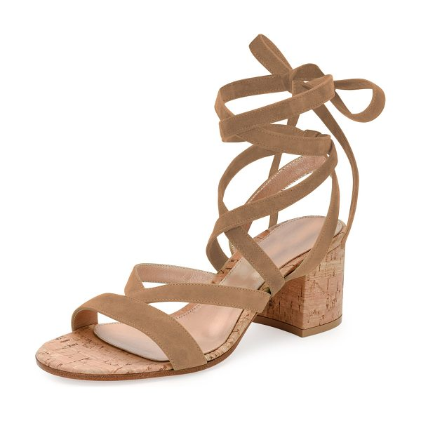Gianvito Rossi Janis Low Suede Lace-Up Sandal in bisque - ONLYATNM Only Here. Only Ours. Exclusively for You....