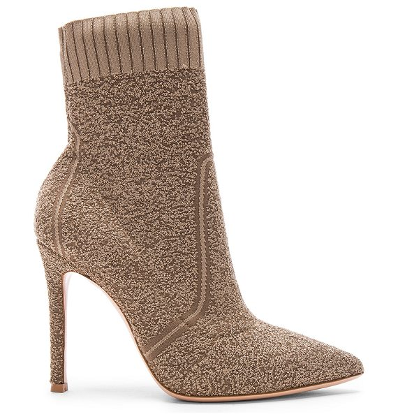 Gianvito Rossi Boucle Knit Katie Ankle Booties in brown - Stretch boucle knit upper with leather sole.  Made in...
