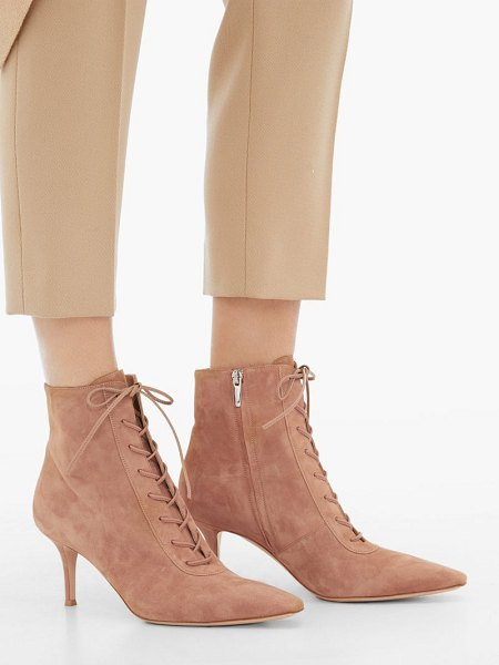 Gianvito Rossi lace-up 70 suede ankle boots in nude