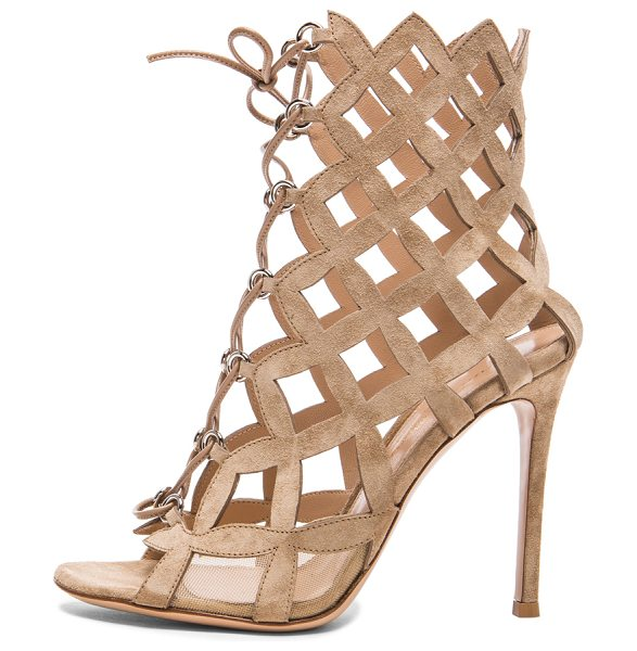 Gianvito Rossi Lace up cut out heels in neutrals - Suede upper with leather sole.  Made in Italy.  Approx...