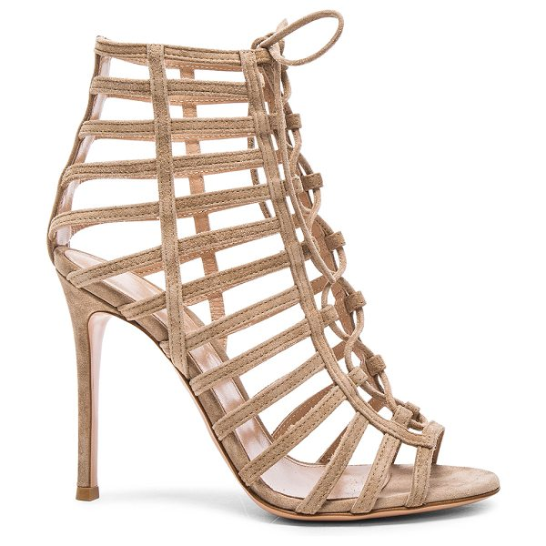 Gianvito Rossi Lace Up Heels in neutrals - Suede upper with leather sole.  Made in Italy.  Approx...