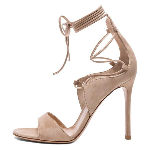 GIANVITO ROSSI Lace up heels - Suede upper with leather sole.  Made in Italy.  Approx...