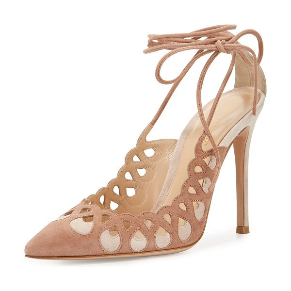 Gianvito Rossi Laser-Cut Ankle-Wrap 105mm Pump in praline/rosa