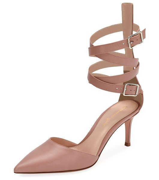 GIANVITO ROSSI Aleris d'Orsay 70 Leather Ankle-Wrap Pump - Gianvito Rossi vitello leather pump with high-cut...