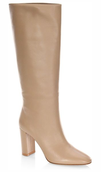 Gianvito Rossi leather knee-high boots in bisque - Knee-high boots featuring tonal stitching details....