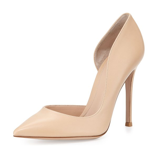 "Gianvito Rossi Leather open-side pump in nude - Gianvito Rossi leather pump. 4"" covered stiletto heel...."