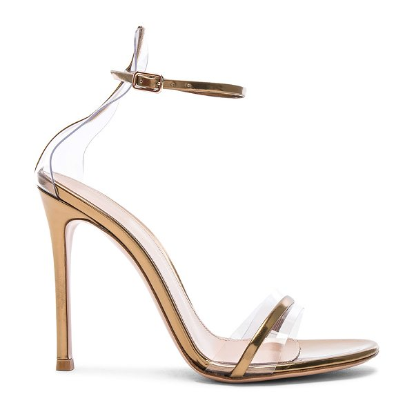 Gianvito Rossi Leather Plexi G-String Heels in metallic gold - Leather upper and sole.  Made in Italy.  Approx 105mm/ 4...