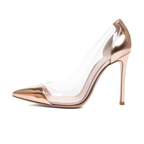Gianvito Rossi Leather & plexy pumps in metallics - Metallic leather upper with leather sole.  Made in...