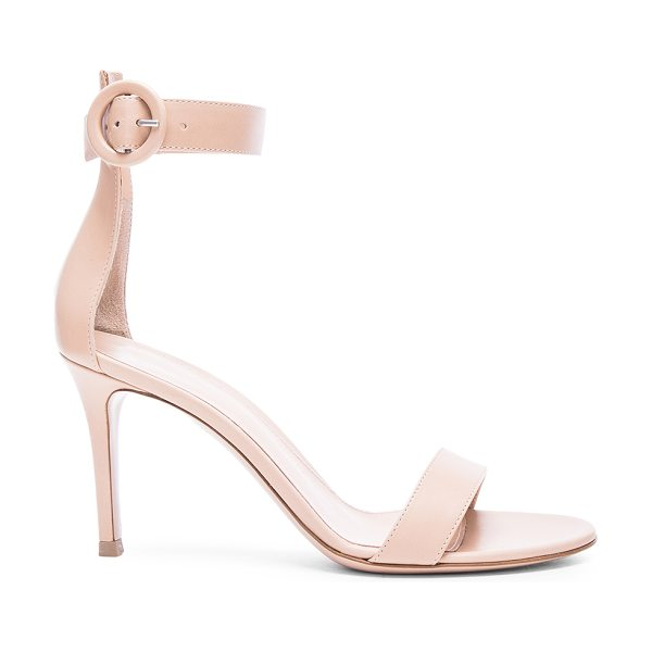 GIANVITO ROSSI Leather Ankle Strap Heels - Leather upper and sole. Made in Italy. Approx 90mm/ 3.5...