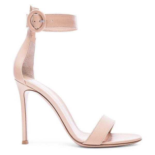 Gianvito Rossi Leather Portofino Heels in nude - Leather upper and sole.  Made in Italy.  Approx 100mm/ 4...