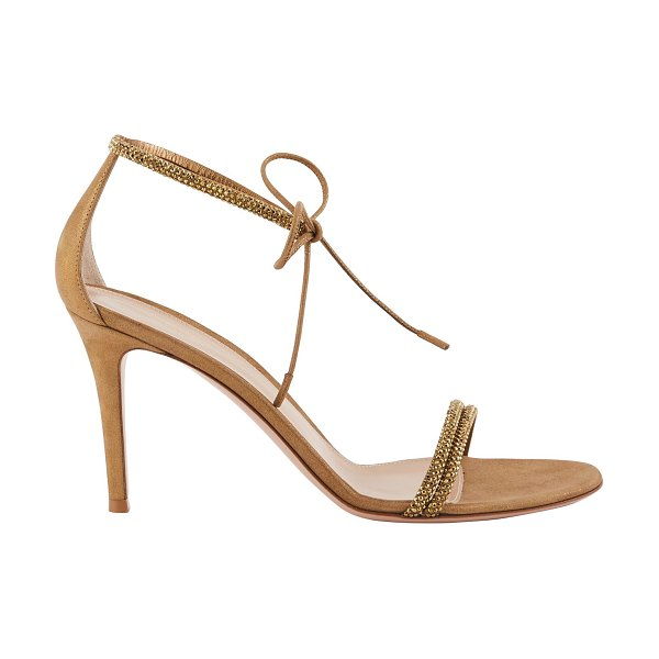 Gianvito Rossi leather sandals in beige - Heel measures approximately 105mm/ 4 inches. Taupe...