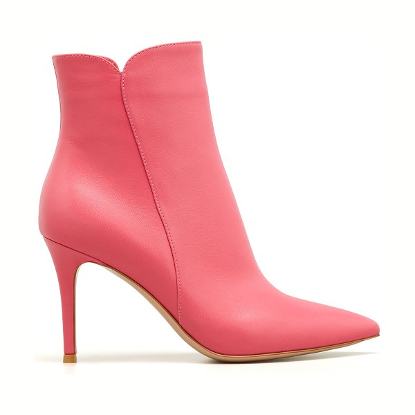 Gianvito Rossi Levy Notched Leather 85mm Booties in ruby rose