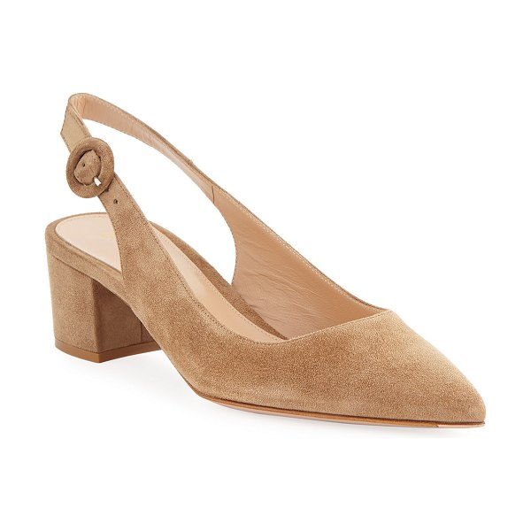 Gianvito Rossi Low-Heel Suede Slingback Pumps in neutral
