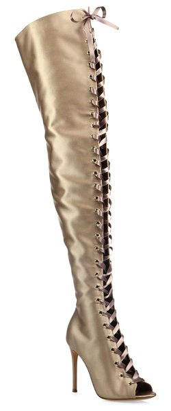 Gianvito Rossi marie satin over-the-knee lace-up peep toe boots in bisque - Leg-lengthening satin lace-up boot with flirty peep toe....