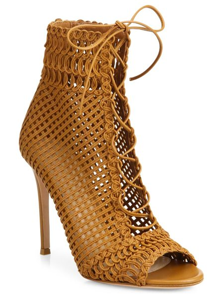Gianvito Rossi marnie woven leather lace-up booties in almond - Woven leather lace-up bootie with lattice and braided...