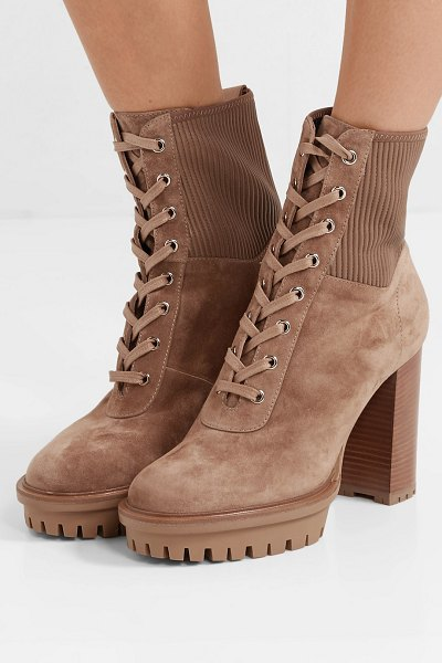 Gianvito Rossi martis 90 lace-up leather-trimmed suede ankle boots in camel